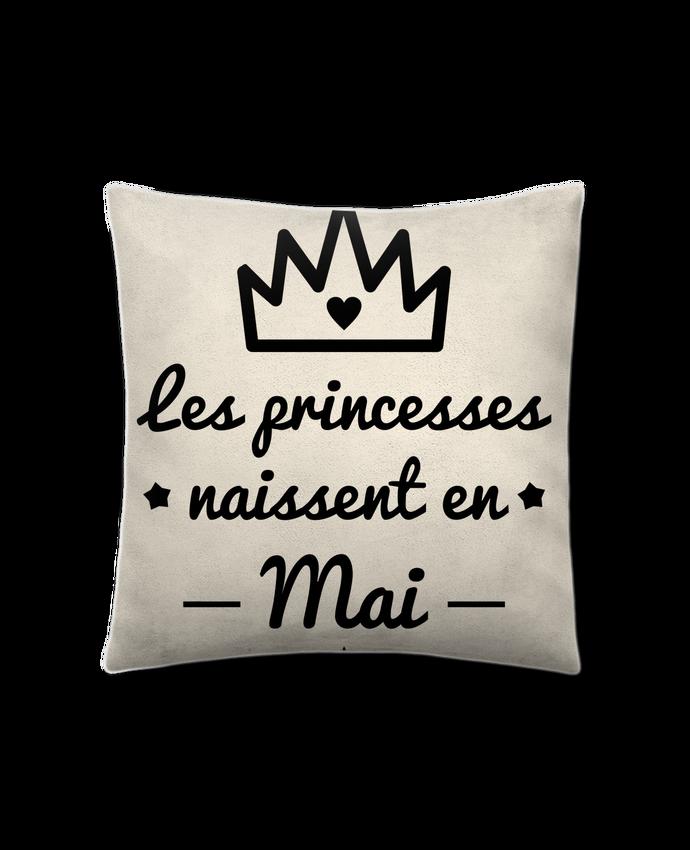 Coussin Toucher Peau de Pêche 41 x 41 cm Les princesses naissent en mai, princesse, cadeau d'anniversaire par Benichan