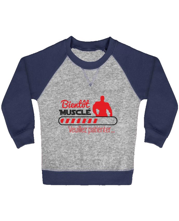 Sweat Shirt Bébé Col Rond Manches Raglan Contrastées Bientôt musclé, musculation, muscu, humour par Benichan