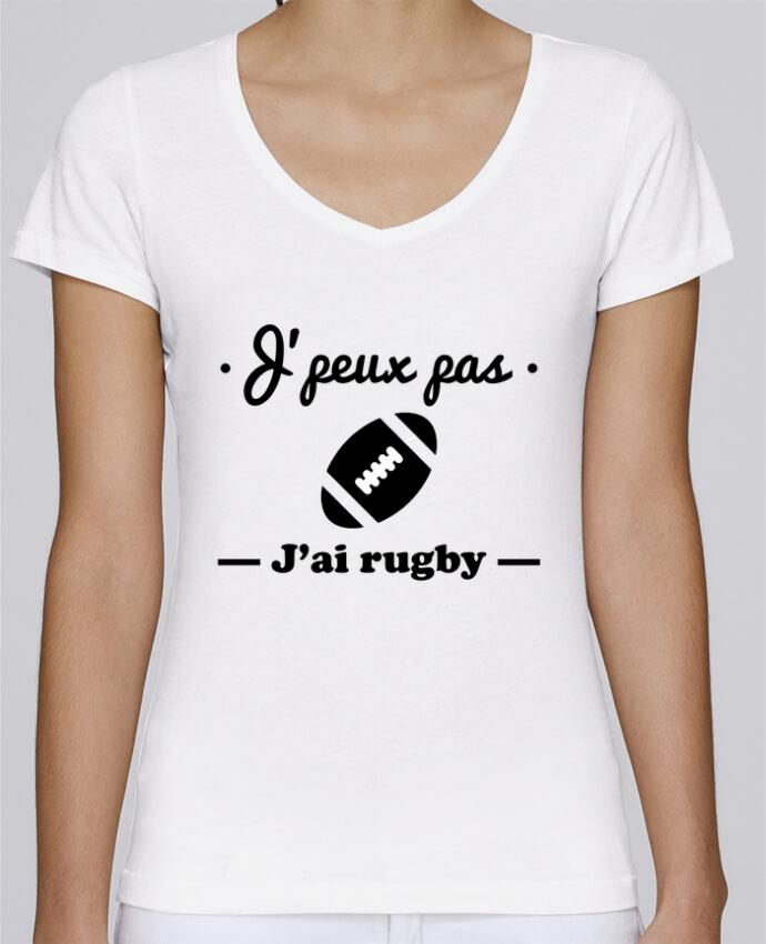 T-shirt Femme Col V Stella Chooses J'peux pas j'ai rugby par Benichan