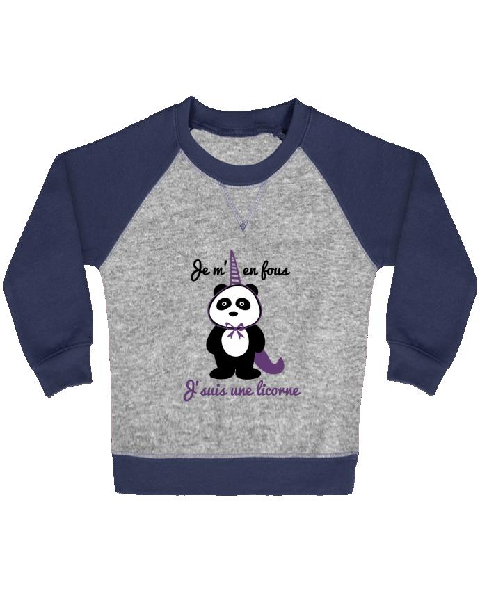 Sweat Shirt Bébé Col Rond Manches Raglan Contrastées Je m'en fous j'suis une licorne, panda par Benichan