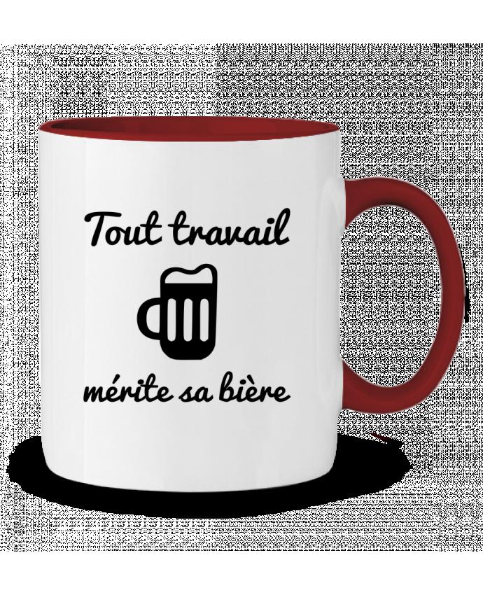 Mug en Céramique Bicolore Tout travail mérite sa bière, humour, citations Benichan