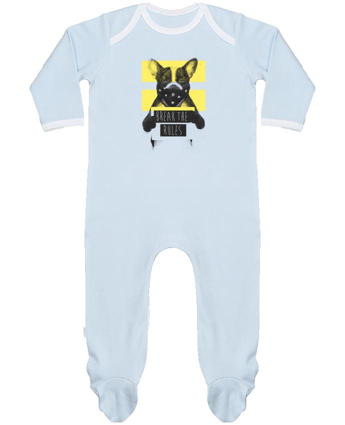 Pyjama Bébé Manches Longues Contrasté rebel_dog_yellow par Balàzs Solti
