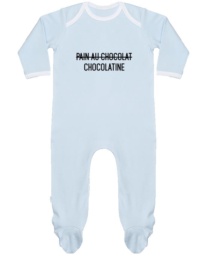 Pyjama Bébé Manches Longues Contrasté Chocolatine par tunetoo