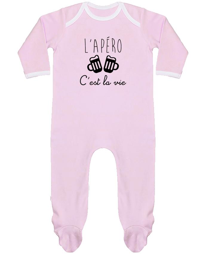 Pyjama Bébé Manches Longues Contrasté L'apéro c'est la vie , humour , alcool , drôle par Benichan