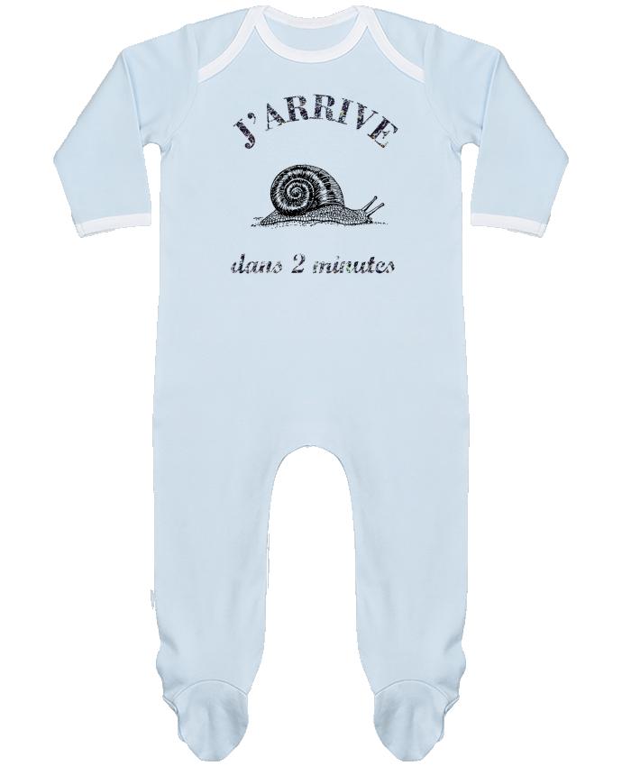 Pyjama Bébé Manches Longues Contrasté J'arrive dans 2 minutes par Promis