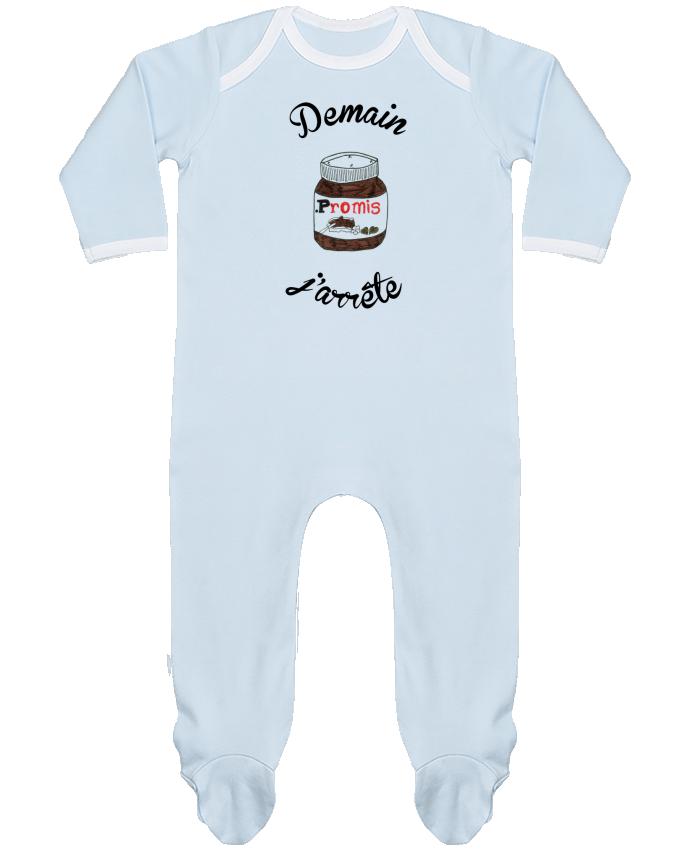 Pyjama Bébé Manches Longues Contrasté Demain j'arrête le Nutella par Promis