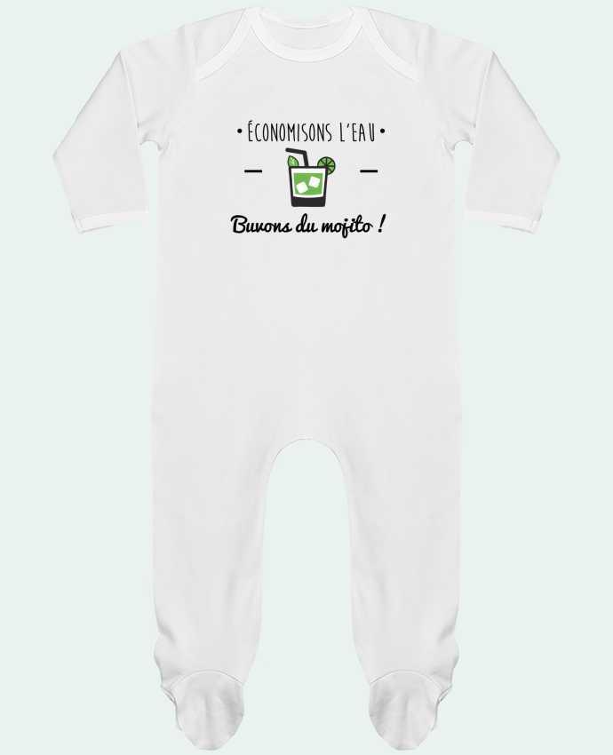 Pyjama Bébé Manches Longues Contrasté Économisons l'eau, buvons du mojito ! Humour , alcool , citations par Benichan