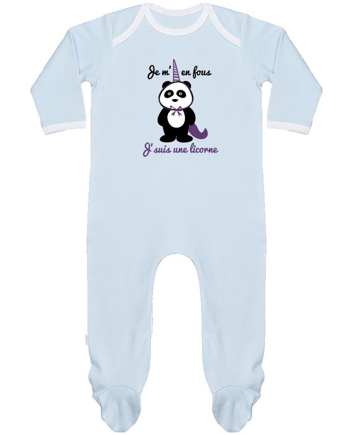 Pyjama Bébé Manches Longues Contrasté Je m'en fous j'suis une licorne, panda par Benichan