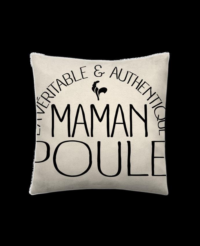 Coussin Toucher Peau de Pêche 41 x 41 cm Maman Poule par Freeyourshirt.com