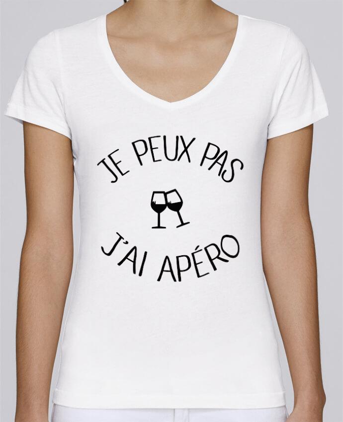 T-shirt Femme Col V Stella Chooses Je peux pas j'ai apéro par Freeyourshirt.com