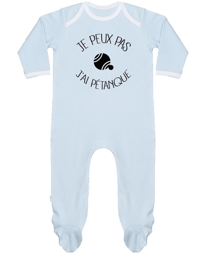 Pyjama Bébé Manches Longues Contrasté Je peux pas j'ai Pétanque par Freeyourshirt.com