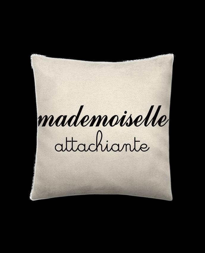 Coussin Toucher Peau de Pêche 41 x 41 cm Mademoiselle Attachiante par Freeyourshirt.com