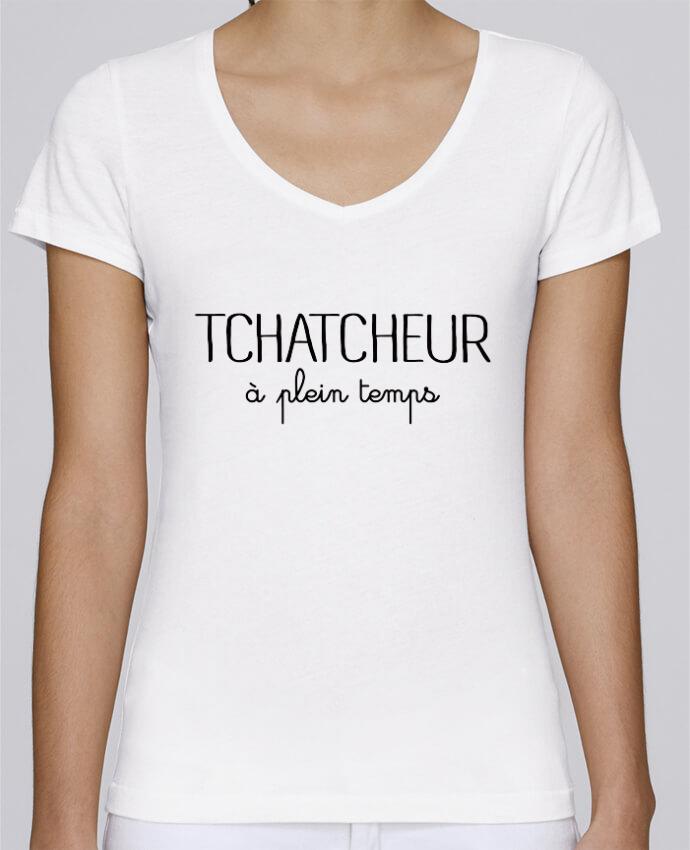 T-shirt Femme Col V Stella Chooses Thatcheur à plein temps par Freeyourshirt.com