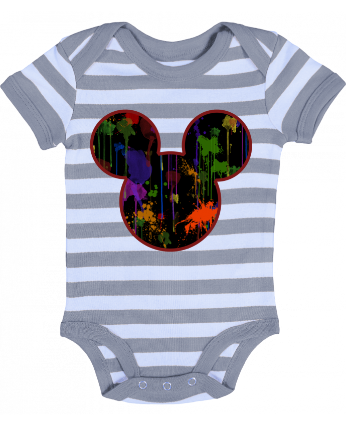 Body Bébé à Rayures Tete de Mickey version noir - Tasca