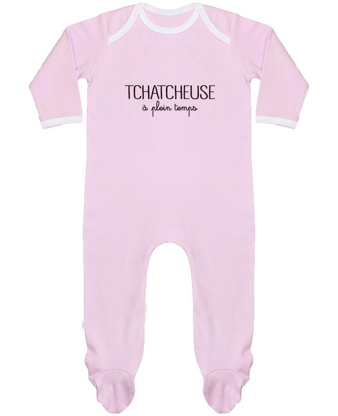 Pyjama Bébé Manches Longues Contrasté Tchatcheuse à plein temps par Freeyourshirt.com