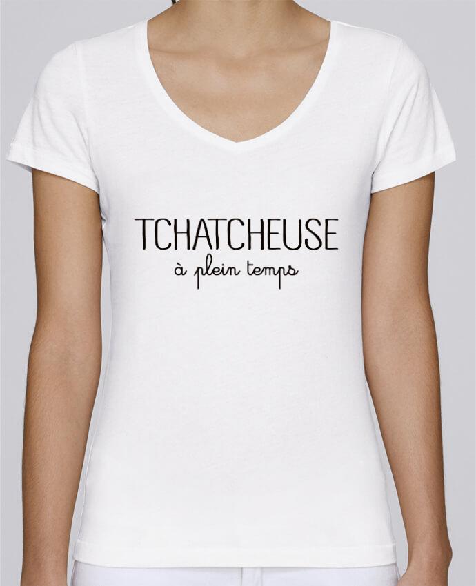 T-shirt Femme Col V Stella Chooses Tchatcheuse à plein temps par Freeyourshirt.com