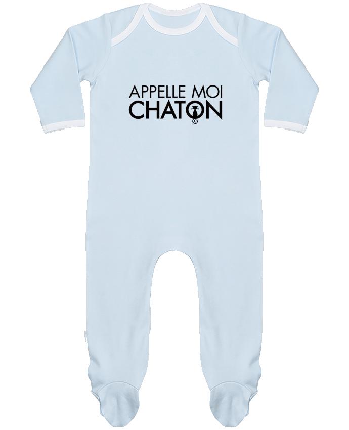 Pyjama Bébé Manches Longues Contrasté Appelle moi Chaton par Freeyourshirt.com