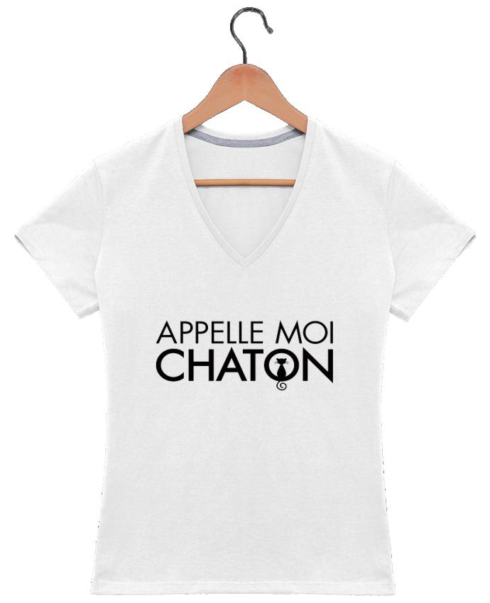 T-shirt Col V Femme 180 gr Appelle moi Chaton par Freeyourshirt.com