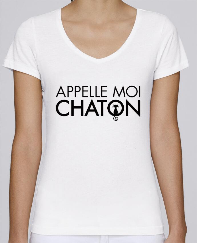 T-shirt Femme Col V Stella Chooses Appelle moi Chaton par Freeyourshirt.com