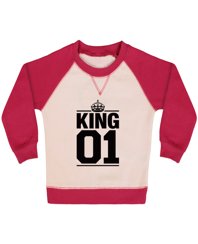 Sweat Shirt Bébé Col Rond Manches Raglan Contrastées King 01 par Freeyourshirt.com