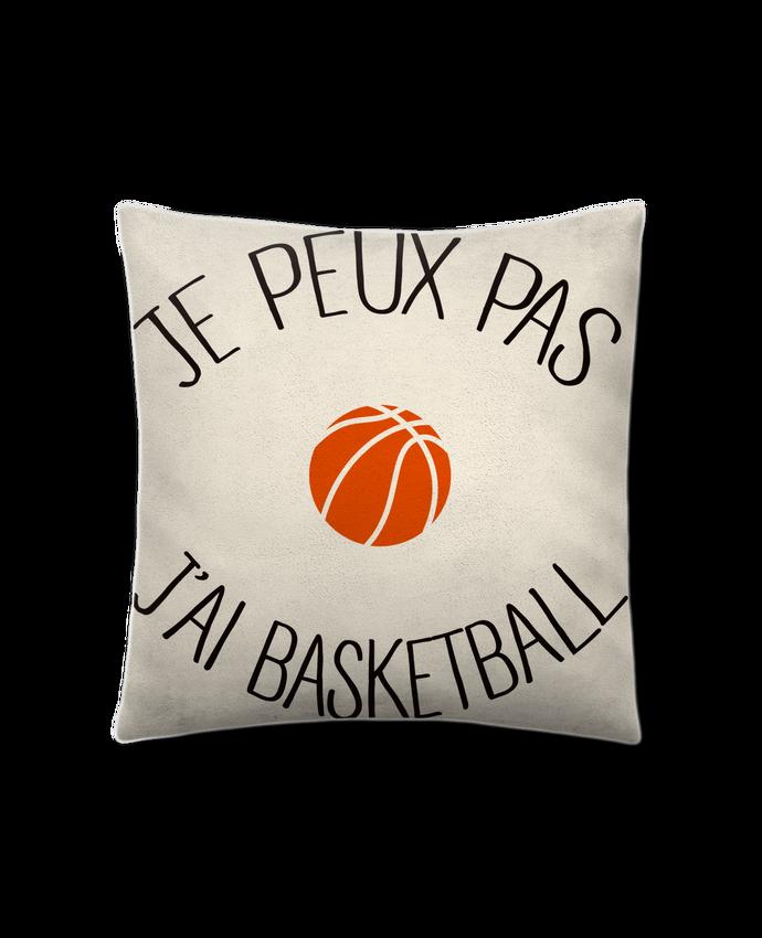 Coussin Toucher Peau de Pêche 41 x 41 cm je peux pas j'ai Basketball par Freeyourshirt.com