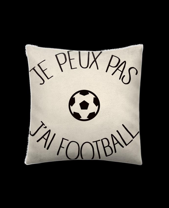 Coussin Toucher Peau de Pêche 41 x 41 cm Je peux pas j'ai Football par Freeyourshirt.com