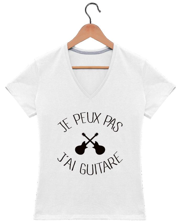 T-shirt Col V Femme 180 gr Je peux pas j'ai guitare par Freeyourshirt.com