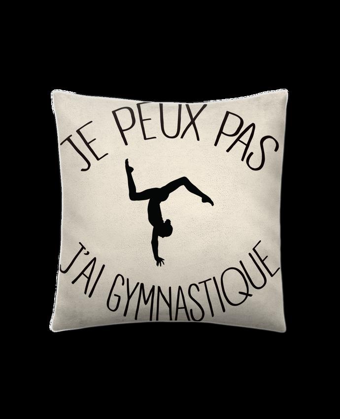 Coussin Toucher Peau de Pêche 41 x 41 cm Je peux pas j'ai gymnastique par Freeyourshirt.com