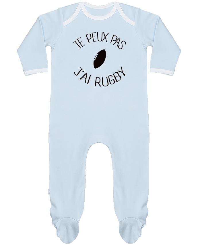 Pyjama Bébé Manches Longues Contrasté Je peux pas j'ai rugby par Freeyourshirt.com
