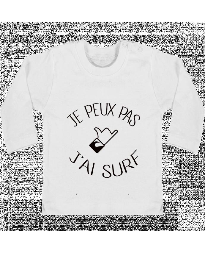 T-shirt Bébé Manches Longues Boutons Pression Je peux pas j'ai surf manches longues du designer Freeyourshirt.com