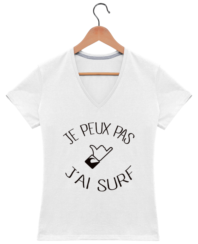 T-shirt Col V Femme 180 gr Je peux pas j'ai surf par Freeyourshirt.com