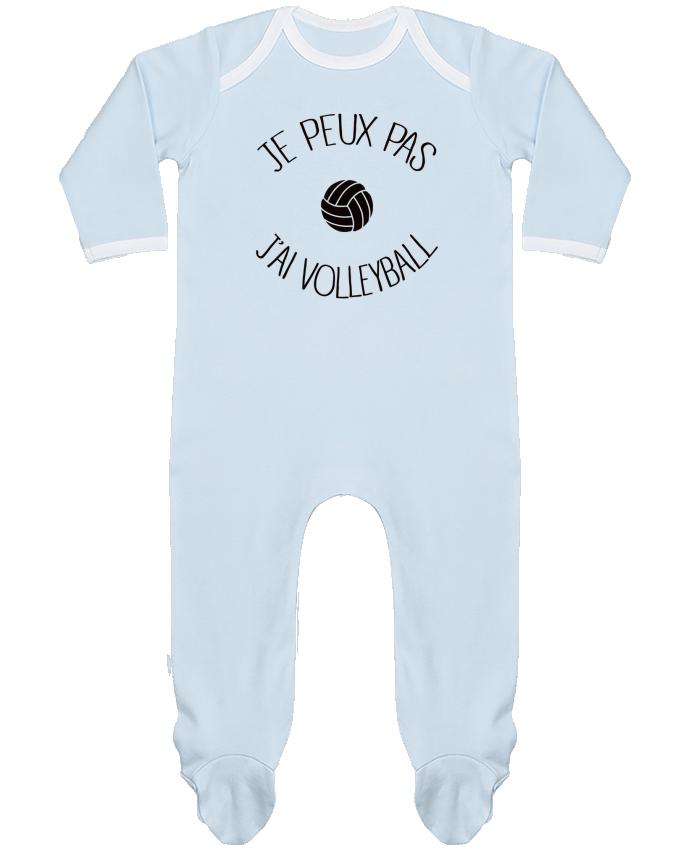 Pyjama Bébé Manches Longues Contrasté Je peux pas j'ai volleyball par Freeyourshirt.com
