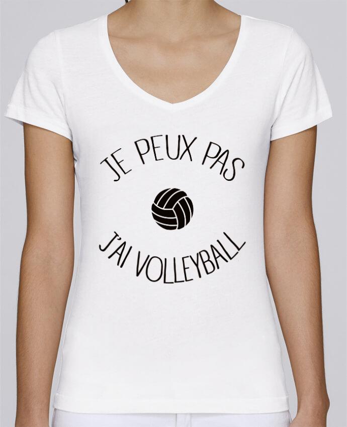 T-shirt Femme Col V Stella Chooses Je peux pas j'ai volleyball par Freeyourshirt.com