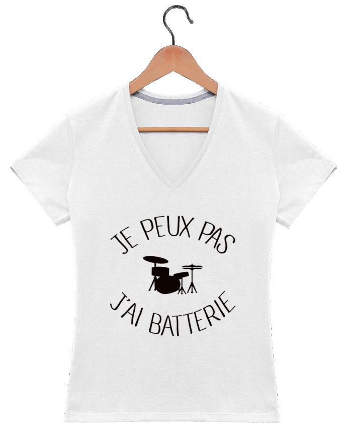 T-shirt Col V Femme 180 gr Je peux pas j'ai batterie par Freeyourshirt.com