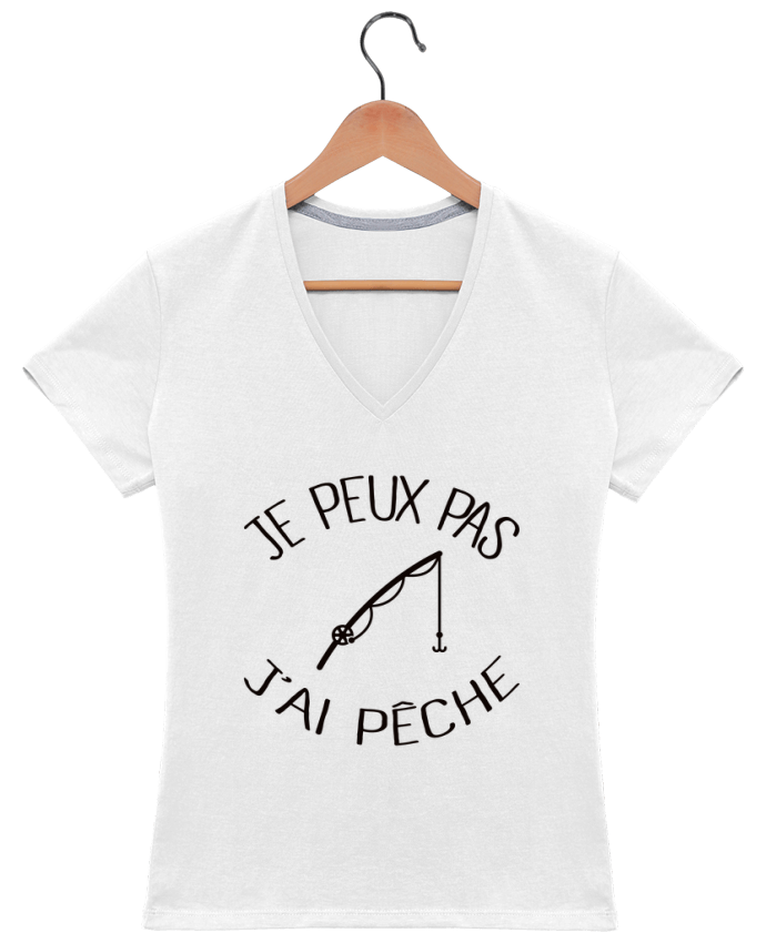 T-shirt Col V Femme 180 gr Je peux pas j'ai pêche par Freeyourshirt.com