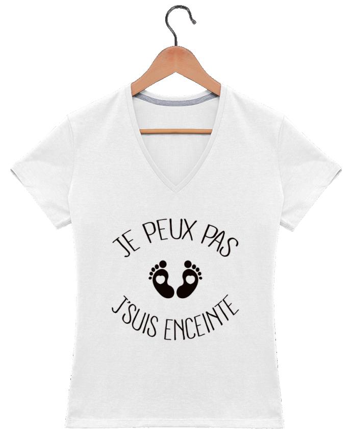 T-shirt Col V Femme 180 gr Je peux pas je suis enceinte par Freeyourshirt.com