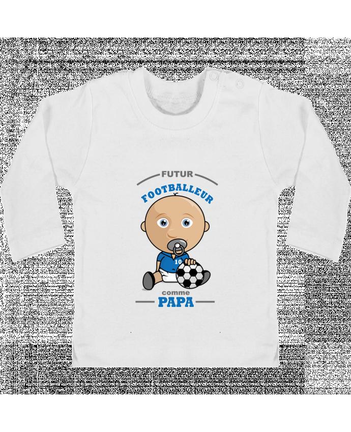 T-shirt Bébé Manches Longues Boutons Pression Futur Footballeur comme papa manches longues du designer GraphiCK-Kids