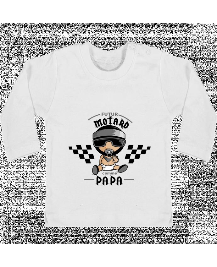 T-shirt Bébé Manches Longues Boutons Pression Futur Motard Comme Papa manches longues du designer GraphiCK-Kids