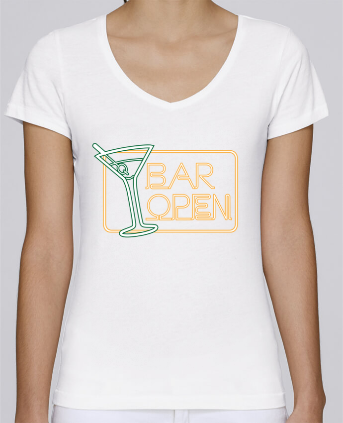T-shirt Femme Col V Stella Chooses Bar open par Freeyourshirt.com