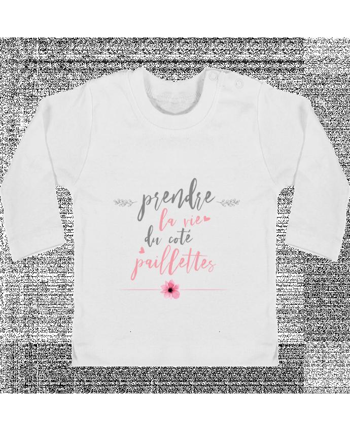 T-shirt Bébé Manches Longues Boutons Pression Prendre la vie du coté paillettes manches longues du designer tunetoo