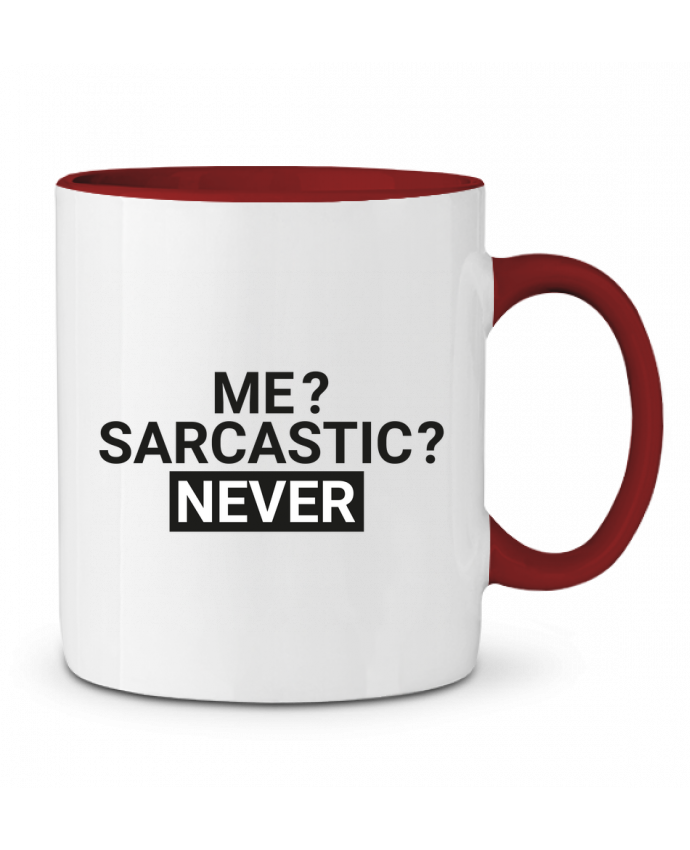 Mug en Céramique Bicolore Me sarcastic ? Never tunetoo