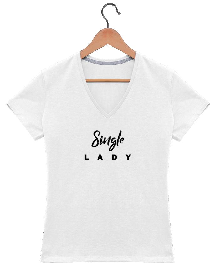 T-shirt Col V Femme 180 gr Single lady par tunetoo