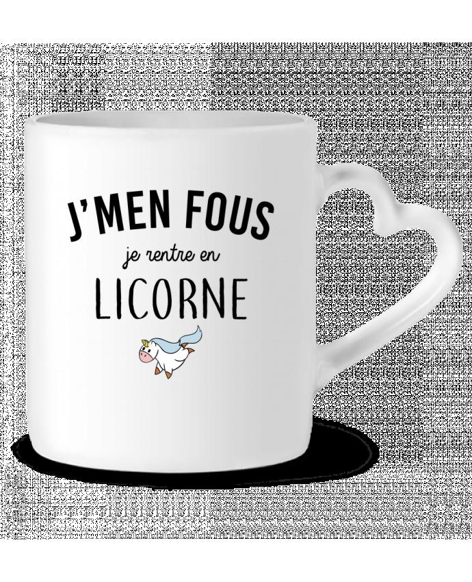 Mug Coeur J'men fous je rentre en licorne par LPMDL