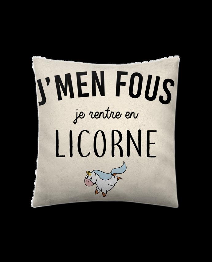 Coussin Toucher Peau de Pêche 41 x 41 cm J'men fous je rentre en licorne par LPMDL