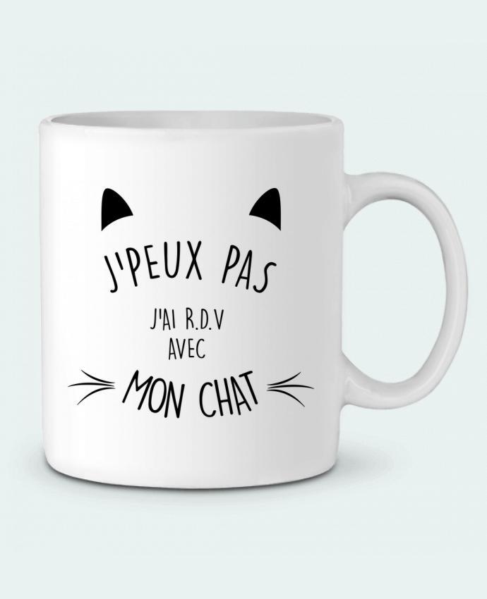 Mug en Céramique J'peux pas j'ai R.D.V avec mon chat par LPMDL