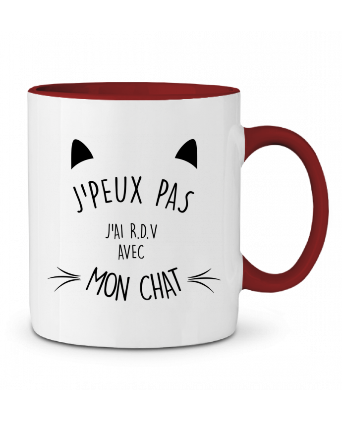 Mug en Céramique Bicolore J'peux pas j'ai R.D.V avec mon chat LPMDL