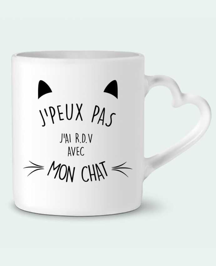 Mug Coeur J'peux pas j'ai R.D.V avec mon chat par LPMDL