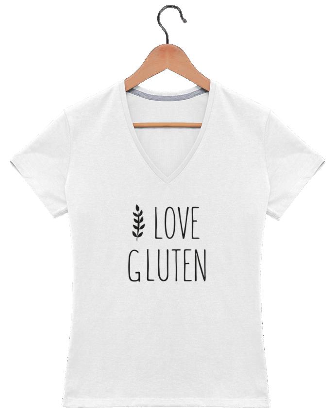 T-shirt Col V Femme 180 gr I love gluten by Ruuud par Ruuud