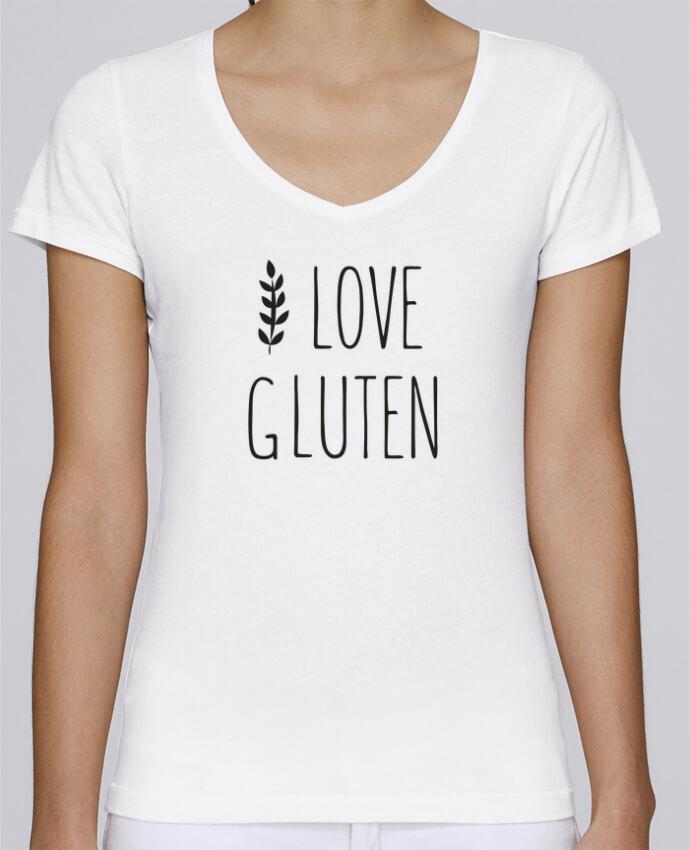 T-shirt Femme Col V Stella Chooses I love gluten by Ruuud par Ruuud