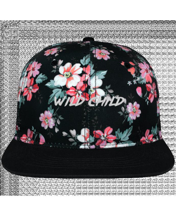 Casquette Snapback Couronne Graphique Floral Noir Wild Child brodé avec toile motif à fleurs 100% polyester et visière